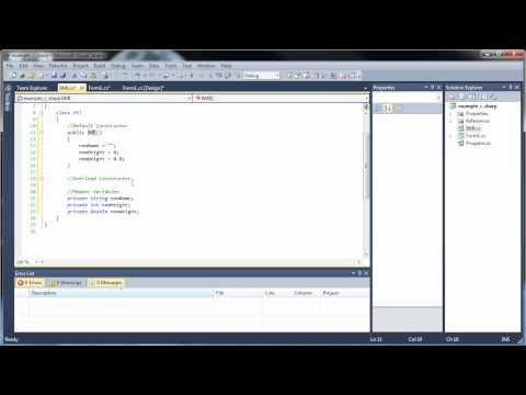 C#.Net Tutorial 17-1 – Classes and Object-Oriented Programming (Part 1)