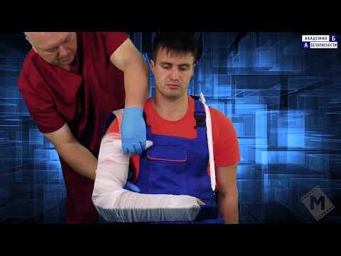 Транспортная иммобилизация шиной Крамера при переломе плечевой кости