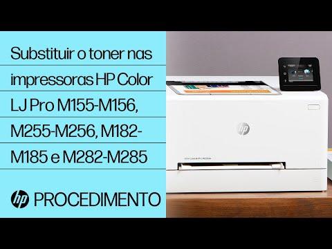 Como substituir o toner nas impressoras HP Color LaserJet Pro das séries M155-M156, M255-M256, M182-M185 e M282-M285