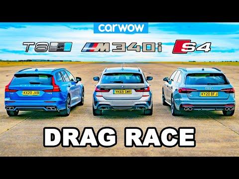BMW M340i v Audi S4 v Volvo V60 T8 - DRAG RACE