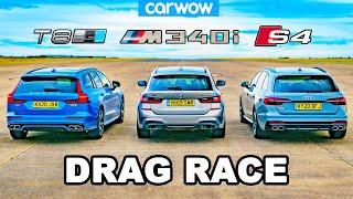 [carwow] BMW M340i v Audi S4 v Volvo V60 T8 - DRAG RACE