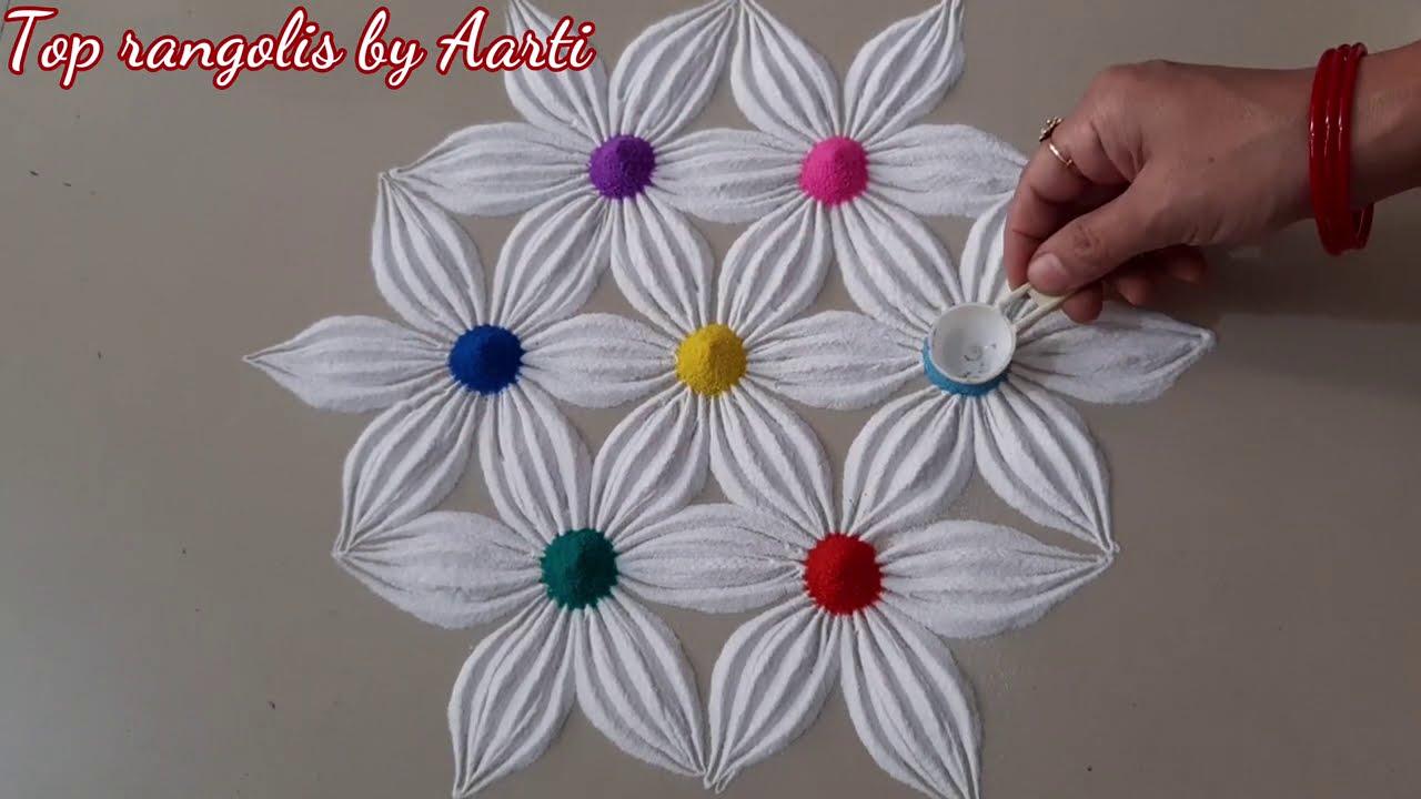 indian traditional flower theme rangoli design by top rangolis
