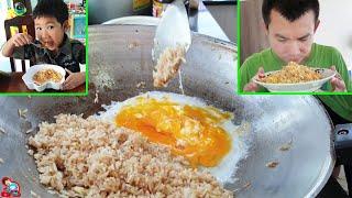 ป๊าบาสเข้าครัวทำอาหารข้าวผัดไข่ให้น้องบีมกิน