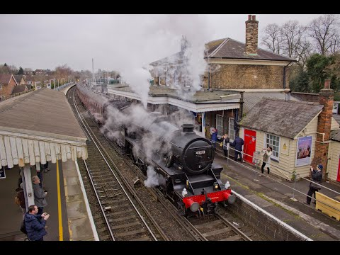 LMS Black 5 45212 at Farnham and Milford with 'The Cathedral…