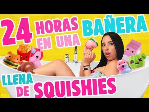24 HORAS EN UNA BAÑERA LLENA DE SQUISHIES - ME HICE PIPÍ!! 😱| Mariale