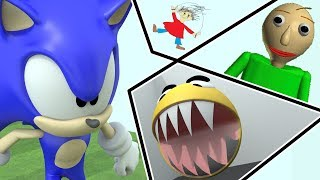 Sonic vs Baldi vs Pacman - Baldi basics world