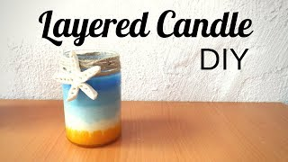 Layered Candle : Beach Decor DIY Seaside Decor Beach Crafts To Make And Sell | By Fluffy Hedgehog