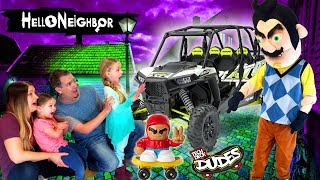 Hello Neighbor in Real Life! Tech Deck Dudes Scateboard Toy Scavenger Hunt at Our Toy Hotel!!!