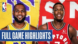 LAKERS at RAPTORS | FULL GAME HIGHLIGHTS | August 1, 2020  Kyle Lowry (33 PTS, career-high 14 REB, 6 AST) led the way for the Toronto Raptors as they defeated the Los Angeles Lakers, 107-92. LeBron James tallied 20 PTS, 10 REB and 5 AST for the Lakers.  Next Games: Raptors at Heat - August 3 at 1:30 pm/et on NBATV Lakers at Jazz - August 3 at 9:00 pm/et on ESPN  Subscribe to the NBA: https://on.nba.com/2JX5gSN 