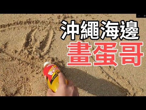 在海邊用沙子作畫,結果被沖一下就沒了