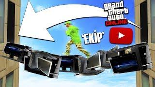 YOUTUBER EKİPMANLARININ ÜZERİNDE PARKUR YAP !! - GTA 5 Online (Sesegel,Ümidi,Ozan)