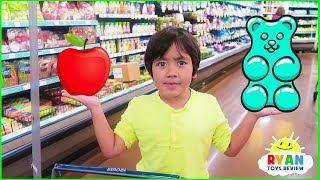 Ryan With Kids Size Shopping Cart Learn Healthy Food Choices!!!