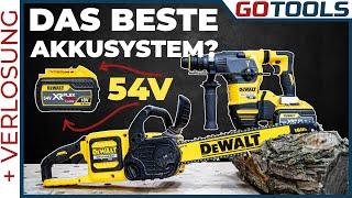 Mehr Leistung für schwerste Anwendungen   Dewalt 54V FLEXVOLT - Bohrhammer, Tauchsäge und Kettensäge