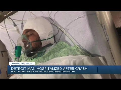 Family blames city for hole in street as Detroit man is hospitalized after crash