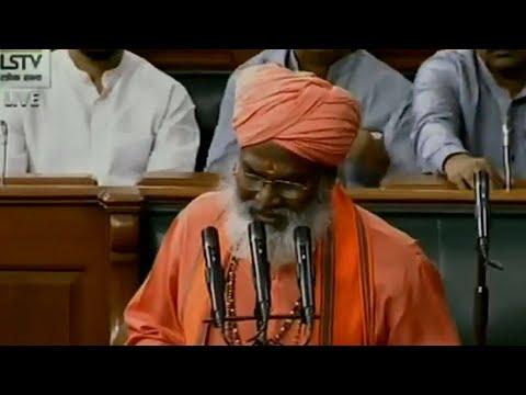 'Mandir wahi banayenge' slogan after BJP MP Sakshi Maharaj takes oath in LS