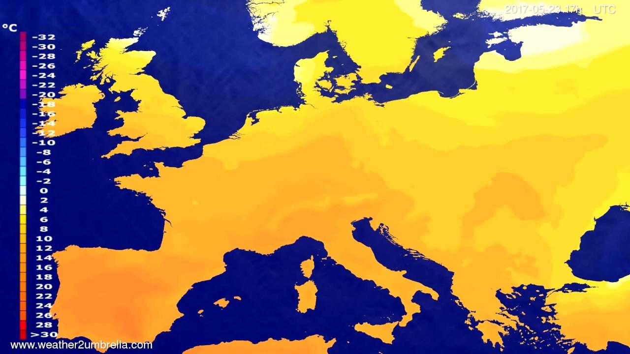 Temperature forecast Europe 2017-05-21