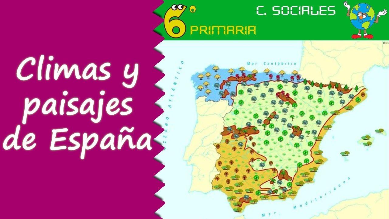 Climas y paisajes de España. Sociales, 6º Primaria
