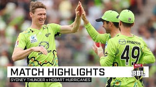 Led by a fine half-century from Alex Hales and a strong bowling display, Sydney Thunder snapped a three-game losing run against Hobart Hurricanes