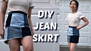 DIY PATCHWORK JEAN MINI SKIRT FROM OLD JEANS! Ft. My Birb
