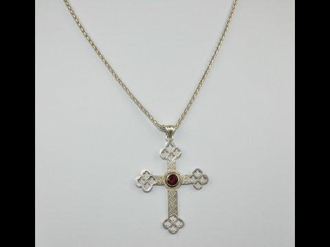YuMostar: Grosser 925 Silber Kreuz Anhänger & Kette mit Granat