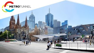 Federation Square station entrance construction