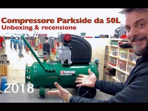 NUOVO Compressore Parkside da 50 LITRI. 2018 recensione e unboxing con descrizione