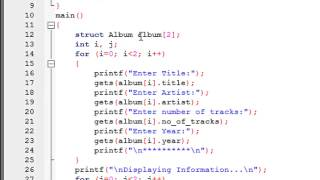 C Programming Tutorial - 68: Array of Structure Variables