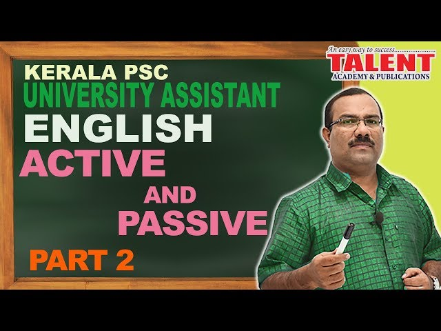 Kerala PSC English Grammar Class - Active and Passive Voice - Part 2