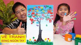Bé Bún Vẽ Bức Tranh Cây Hoa Tay - Draw tree with your finger