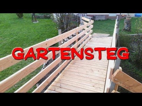 Gartensteg bauen, Gartenbrücke selbst gebaut DIY Gartensteg Rollstuhlrampe