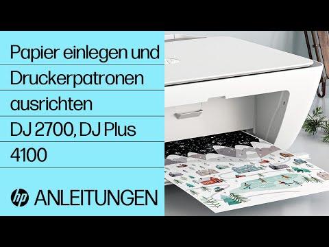 So legen Sie bei Druckern der Serien HP DeskJet 2700 und DeskJet Plus 4100 Papier ein und richten die Druckerpatronen aus