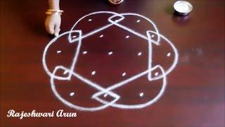 simple sikku kolam designs for beginners || melikala muggulu with dots || easy rangoli designs