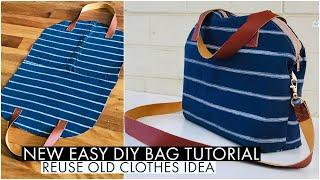DIY BAG/ CROSSBODY BAG/HANDBAG/SHOULDER BAG/SUPER RECYCLING FROM SHIRT/BOLSA DIY/DIY กระเป๋าผ้า