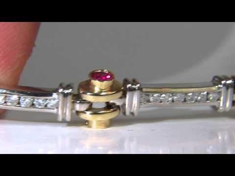 4.50ct NATURAL FINE RUBY DIAMOND BAR LINK BEARING DECO BRACELET