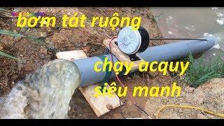 chế bơm tát nước ruộng từ mô tơ xe đạp điện và ống PVC hút cực khỏe
