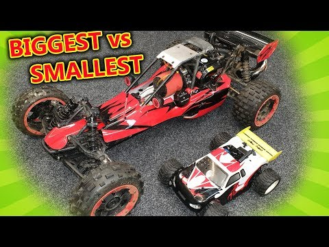 MASSIVE LOUD and TINY Little GAS RC Cars + Crashes!