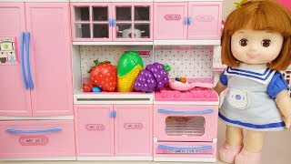 Baby doll refrigerator kitchen cooking play Doli house