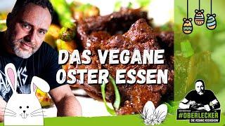 Traumhaft veganes Osterrezept: Sojamedaillons mit Selleriepüree und Spargelsalat