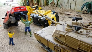 Tank Toy Helps Excavator Truck Car Toys Activity
