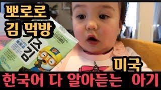 뽀로로 김에 빠진 아기 먹방, 미국아기 한국어 부터 말하기 시작했어요! (내일 라이브 공지해요!)