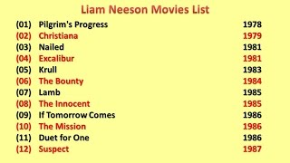Liam Neeson Movies List