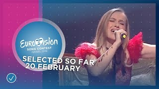 Selected entries so far (20 February 2019) - Eurovision 2019