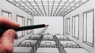 Bagaimana Menggambar Ruang Dalam Perspektif 1-Point: A Classroom