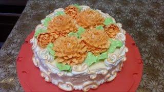 Рецепт БИСКВИТА на ЖЕЛТКАХ цветы с крема ХРИЗАНТЕМА украшение торта кремом Cake decoration