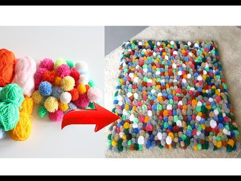 Beste Diy Ideen ! Pompom -Wolle Teppich Selber machen ! - Beautiful Pompom-Wool Carpet Self Made !