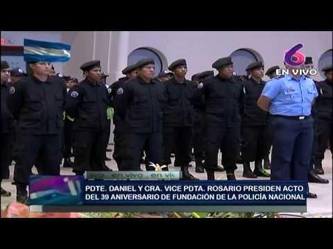 Comandante Daniel y la Compañera Rosario presiden acto del 39 Aniversario de conmemoración de la Policía Nacional