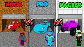 Minecraft NOOB vs. PRO vs. HACKER: SECRET CAR GARAGE in Minecraft! (Animation)