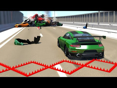 Supercars Against Spike Strips - BeamNG Drive Police Spike Strip Testing