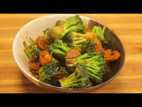 Broccoli Stir Fry w/natural chicken Sausage – healthy dinner recipes – fast chinese recipes
