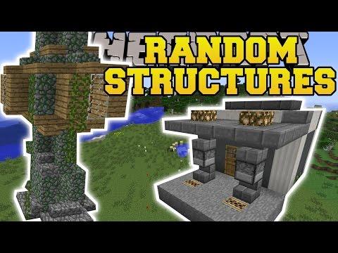 Minecraft: RANDOM STRUCTURES MOD (GAS STATION, TREE HOUSE, PARK, & MORE!!) Mod Showcase
